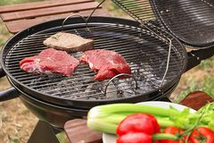 Tasty meat on barbecue grill outdoors. Closeup stock photos