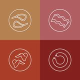 Tasty meat linear icons set 01 Royalty Free Stock Photos