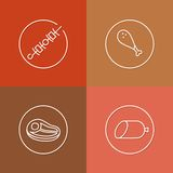 Tasty meat linear icons set 03 Royalty Free Stock Images