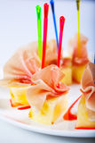 Tasty meat with pineapple slices. Royalty Free Stock Photography