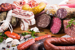 Tasty meat and sausage products Royalty Free Stock Photography