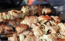 Tasty meat skewers Stock Photos