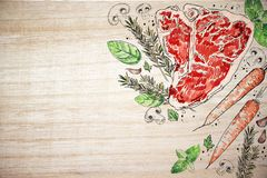 Tasty meat steak wooden backdrop. Meat and vegetables illustration. Piece of meat subfried on fire. Pork or beef on wooden board with herbs. Tasty food on wooden Royalty Free Stock Images