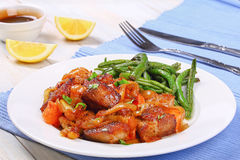 Tasty meat stew on white plate Stock Image