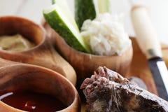 Tasty meat on white background Stock Image