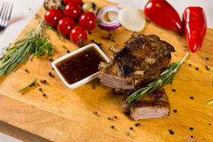 Tasty Meaty Main Dish with Dip Sauce Stock Photography