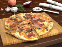 Tasty Meaty Pizza on Wooden Board on Table Top Royalty Free Stock Image