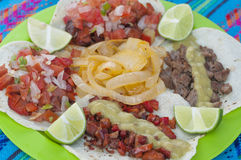 Tasty Mexican taco plate closeup Royalty Free Stock Images