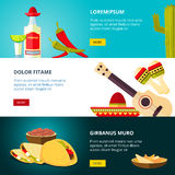 Tasty mexican traditional cuisine food restaurant vector banners set Royalty Free Stock Photography