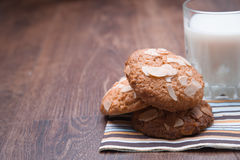 Tasty milk and cookies. On the table Stock Image
