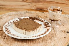 Tasty milk dessert made with coffee.  stock images