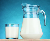 Tasty milk in jug and glass Royalty Free Stock Image