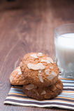 Tasty milk with oatmeal cookies. On the table Stock Image