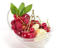 Tasty mix berry in bowl Stock Photos
