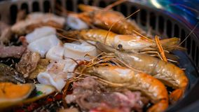 Tasty Mix Grilled Seafood Buffet royalty free stock photography