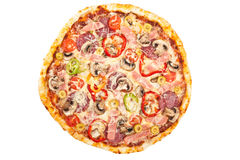 Tasty Mixed Meat and Vegetable Pizza Stock Photos
