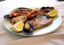 A tasty mixed seafood grill royalty free stock image