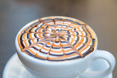 Tasty Mocha Coffee Served with Design Royalty Free Stock Image