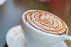 Tasty Mocha Coffee Served with Design Royalty Free Stock Images