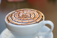 Tasty Mocha Coffee Served with Design Stock Images