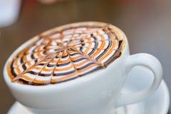 Tasty Mocha Coffee Served with Design Stock Photo