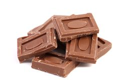 Tasty morsel of milk chocolate. Royalty Free Stock Photo