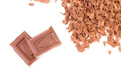 Tasty morsel and slices of choclate. Frame. Royalty Free Stock Photos
