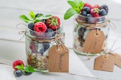 Tasty muesli with berry fruits and yogurt Stock Photos