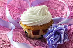 Tasty muffin cake with protein cream Royalty Free Stock Photography