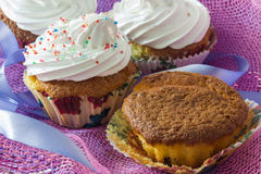 Tasty muffin cakes with and without protein cream Royalty Free Stock Photos
