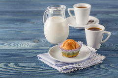 Tasty muffin with chocolate on kitchen tabel Stock Images