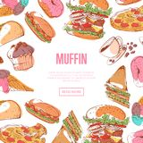 Tasty muffin menu with fast food sketches. Restaurant advertising, delicious street food vector illustration. Taco, donut, hot dog, cup of coffee, ice cream Royalty Free Stock Photo