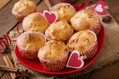 Tasty muffins with apple and cinnamon Stock Photos