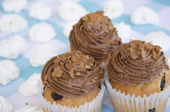 Tasty muffins with chocolate cream decorated with sugar candies in a blue checkered tablecloth  and meringue. Sweet pastries Stock Photo