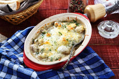 Tasty mushroom with cheese sauce Stock Images
