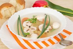 Tasty mushroom soup, slices of bread and red tulip Stock Photos