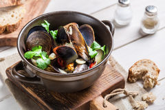Tasty mussels with garlic and red peppers served with bread Stock Photography