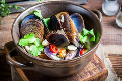 Tasty mussels with garlic sauce. On old wooden table royalty free stock image