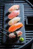 Tasty Nigiri sushi with octopus, prawn and salmon Stock Photo