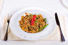 Tasty Noodles with Red Pepper and Beans Royalty Free Stock Photo