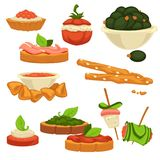 Tasty nutritious snack with vegetables and sauces set. Sandwich with caviar and bacon, garlic filling in tomato, fresh olives, crispy sticks, nachos and dip Royalty Free Stock Images