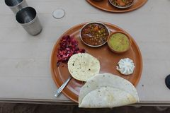 Tasty, nutritious, vegetarian Indian lunch meal. royalty free stock photos