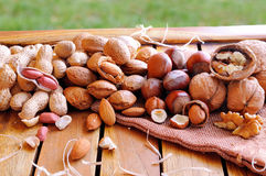 Tasty nuts on a wooden table in field Stock Image
