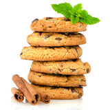 Tasty oat biscuits with cinnamon Royalty Free Stock Photo
