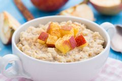 Tasty oatmeal with apples and cinnamon Stock Photos