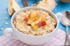 Tasty oatmeal with apples and cinnamon Royalty Free Stock Photo