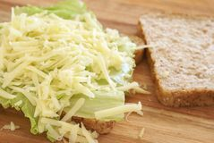 Tasty open cheese sandwich on wholewheat Royalty Free Stock Photo