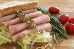 Tasty open sandwich on wholewheat bread Royalty Free Stock Images