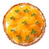Tasty orange citrus tart isolated on white background Royalty Free Stock Photography