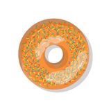 Tasty orange sweet donut icon with sprinkles isolated on white background.  Stock Photos